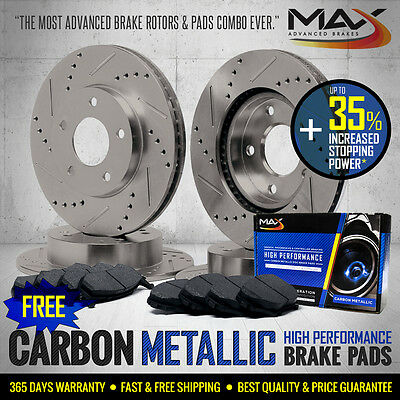 [FRONT+REAR KIT] Slotted & Cross Drilled Brake Rotors AND Carbon Metallic Pads