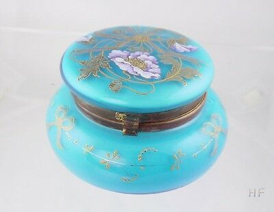 LOVELY VICTORIAN TURQUOISE FLORAL PAINTED OPALINE GLASS JAR JEWEL BOX