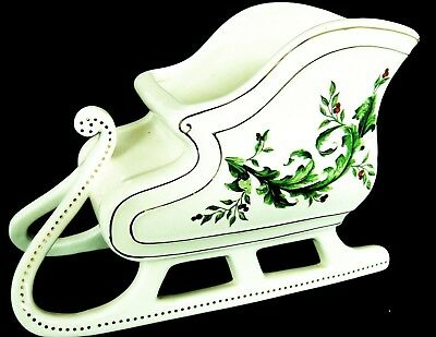 Porcelain Christmas Sleigh Planter by FTD White with Holly Design 6x9