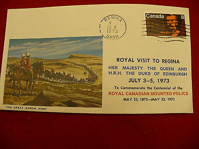 Royal visit 1973 First Day Cover FDC Scott 612 Great March West RCMP cachet