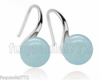 NATURAL LIGHT BLUE JADE GEMSTONE 100% SOLID 925 STERLING SILVER EARRINGS NEW