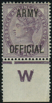 "SG O43 ""Army Official"" 1d lilac, very fine u/m ""W"" Control example, Spec Cat £30"