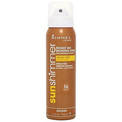 Brand New Rimmel Sunshimmer Instant Fake Tan Bronzing Spray Golden 100ml