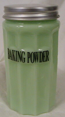 Jade Glass BAKING POWDER Covered Canister