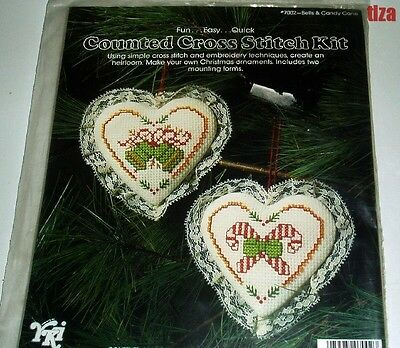 Two Counted Cross Stitch Lace Trimmed  Hearts Ornaments