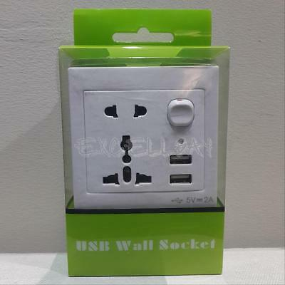 Universal Double USB Outlet Power Charger Wall Socket Plug with Switch E0Xc