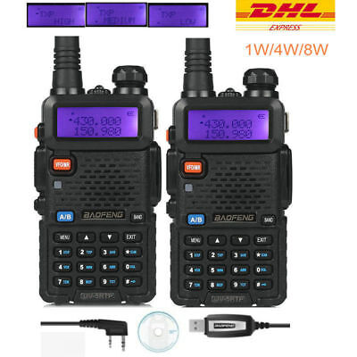 DE 2×BaoFeng UV-5RTP + Cable Tri-Power 1/4/8W Radio Portatil Transceptor Emisora