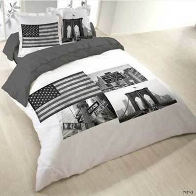 Housse de couette 240 x 220 2 taies love new york usa for Housse de couette usa