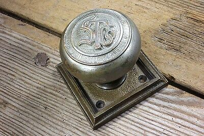 old Door knob & plate brass nickel ST Co monogram Rockland vintage personalized