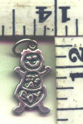 """STERLING BRACELET CHARM-OLD """"IT'S A BOY""""WITH DIAPER ON-2 AVAILABLE AT $9.00 EACH"""