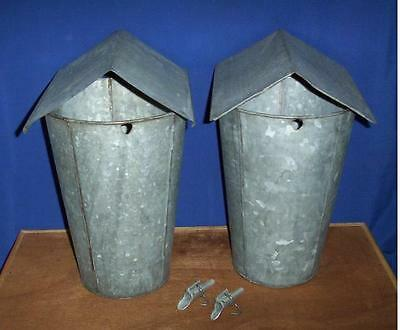 2 MAPLE SYRUP Old GALVANIZED Sap Buckets + Lids COVERS + TAPS Spiles Spouts