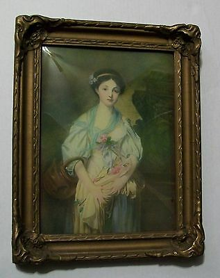 Antique Picture Woman with Flowers Convex Glass Royal Gold Frame Gold Powder