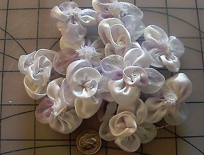 ORGANZA & SILK  Petal WHITE LAVENDER Flowers Roses Wedding Crafting 12 ct  #51