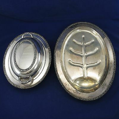 MIDDLETOWN SILVERWARE/MSC Vintage DOUBLE VEGETABLE BOWL +MEAT/ROAST PLATTER TRAY