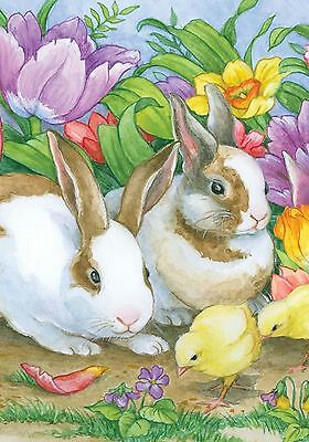 ChiCKs Spring Walk TuLips Daffodils Violets, 2 Bunnies Gaze 0929 New Mini Flag