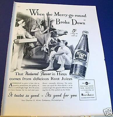 1937 Hires Root Beer Ad when the Merry-Go-Round broke down