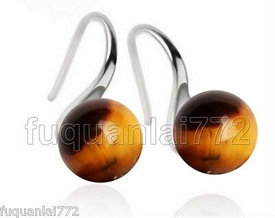 NATURAL TIGER EYE W.GEMSTONE 100% SOLID 925 STERLING SILVER SS EARRINGS NEW