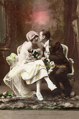 ART DECO WEDDING COUPLE Vintage Postcard Image Photo, Blank Card Or Print CP028