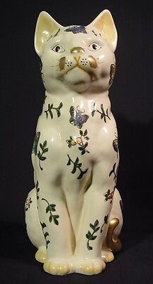 Rare Mid Century Japanese Cat Life-like Size Figurine Butterflies Takahashi NOS