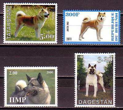 Akita Inu Dogs 4 different MNH stamps AKIN03
