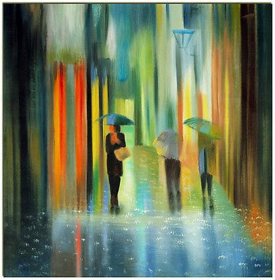 """Visual Street Scene - 20x20"""" Hand Painted Abstract Oil Painting On Canvas"""