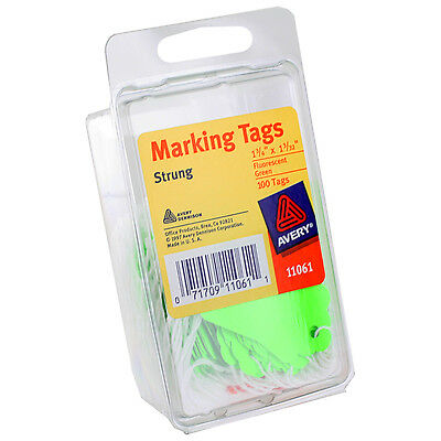 "Avery Marking Tags, Strung, 1-3/4"" x 1-3/32"", Fluorescent Green, Pack of 100"