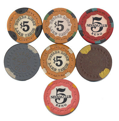 SET OF 8 NEVADA CLUB/NEVADA LODGE CASINO $5 CHIPS GREAT COLLECTION FreeShipping*