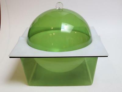 Green clear acrylic lucite domed ice bucket server mid century modern  60-70's