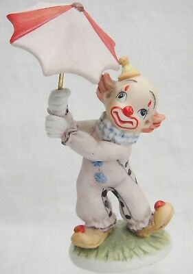 "Porcelain Clown Holding Umbrella Figurine 5.5"" Tall Very Cute"