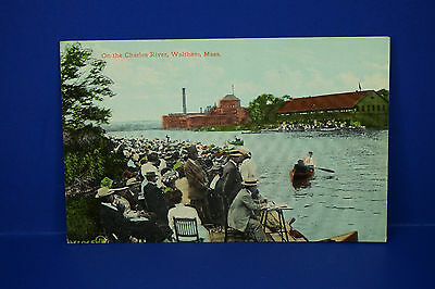 Vintage On The Charles River, Waltham, Massachusetts, Color Post Card, PC3
