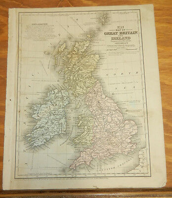 1852 Mitchell COLOR Map/GREAT BRITIAN & IRELAND b/w PRUSSIA,GERMANY,ITALY