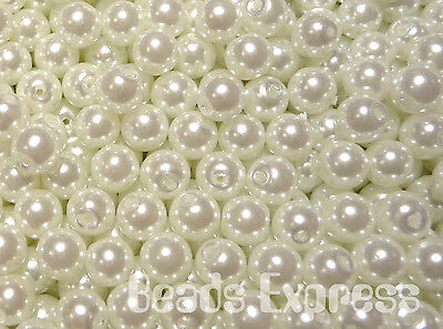 200pcs Quality Glass Pearl Round Small Beads - Snow White 4mm (CR4016)