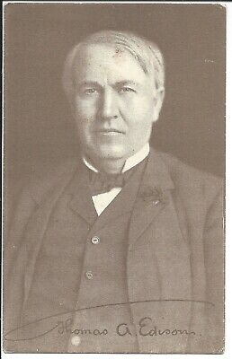 Edison Amberol Records Advertising Card, VG Image of Edison, c1910s