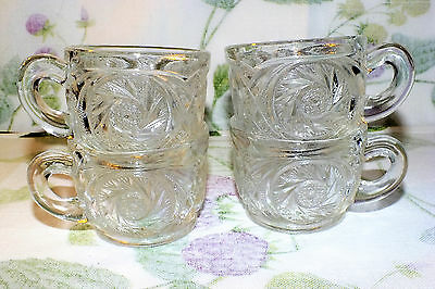 SMITH GLASS AZTEC pinwheel star PRESSED PUNCH CUPS 4  ALL EXC