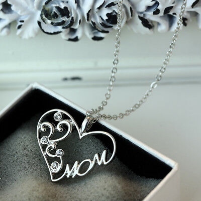 "Engraved ""Mom"" Silver Crystal Heart Pendant Necklace for Love Mother's Day Gifts"