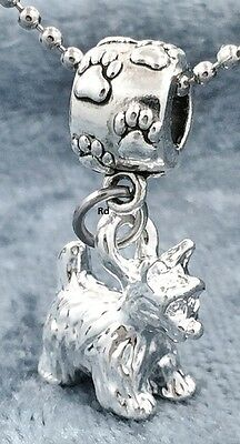 3D Westie Dog Breed Charm on Paw Print Slider Bead For Bracelet OR Necklace