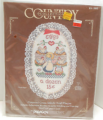 """""""Fresh Eggs"""" Paragon counted cross stitch pattern kit 5"""" x 9"""" hoop lace ribbon"""