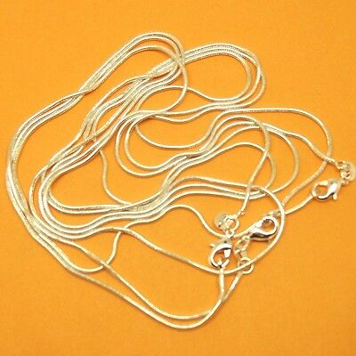 wholesale 50pcs lot s925 Sterling  Silver 1mm Snake Chain Necklace 18-30 inch