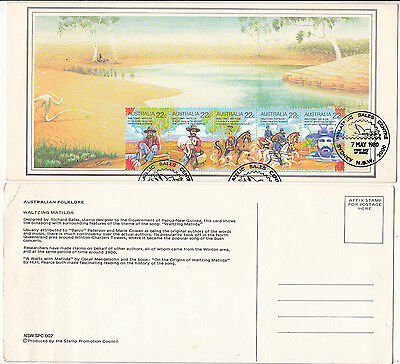 Stamps Australia 1980 Waltzing Matilda strip 5 stamp factory maximum card, nice