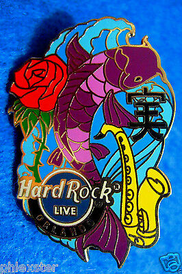 ORLANDO LIVE *KOI FISH SERIES* SAXOPHONE & RED ROSE *TRUTH* Hard Rock Cafe PIN