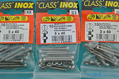 CLASS'INOX,PRO,40 Boulons TC ,5 x 40 mm + Ecrous,INOX A4 Marine,Tête Cylindrique