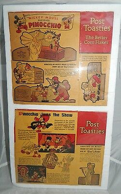 1939 POST TOASTIES Walt Disney Pinocchio Mickey Mouse Used Cut Outs