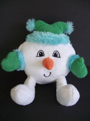 "SNOWBALL Snowman 7"" Plush White Christmas Winter Holiday Stuffed Animal Toy"