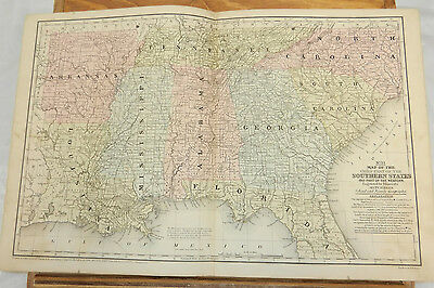 1852 Mitchell Antique COLOR Map///SOUTHERN STATES