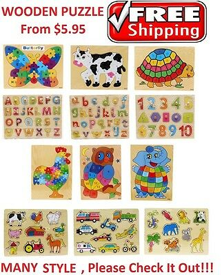 New Educational Wooden Puzzle Number Alphabet Jigsaw Boy Girl Toy Kids Butterfly