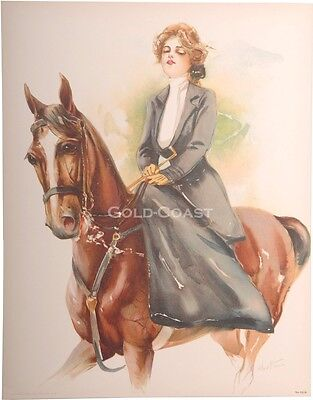 Woman Riding Horse 1908 Victorian 10x13 Color Litho Print - Chromolithograph