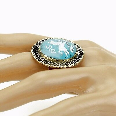Turquoise RING Hand Carved Kuchi Belly Dance Tribal (many sizes available) 851b4