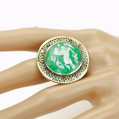 Malachite RING Hand Carved Kuchi Belly Dance Tribal (many sizes available) 851a7