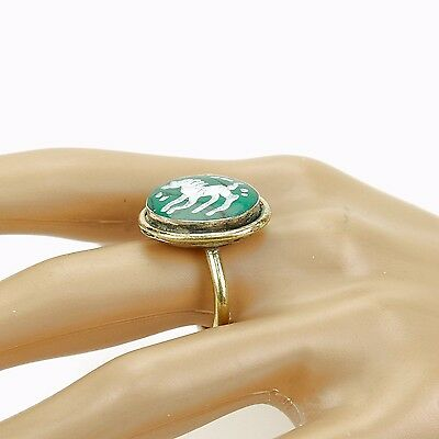 Malachite RING Hand Carved Kuchi BellyDance Tribal (many sizes available) 851a10
