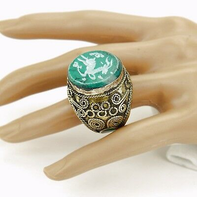 Malachite RING Hand Carved Kuchi BellyDance Tribal (many sizes available) 851f8